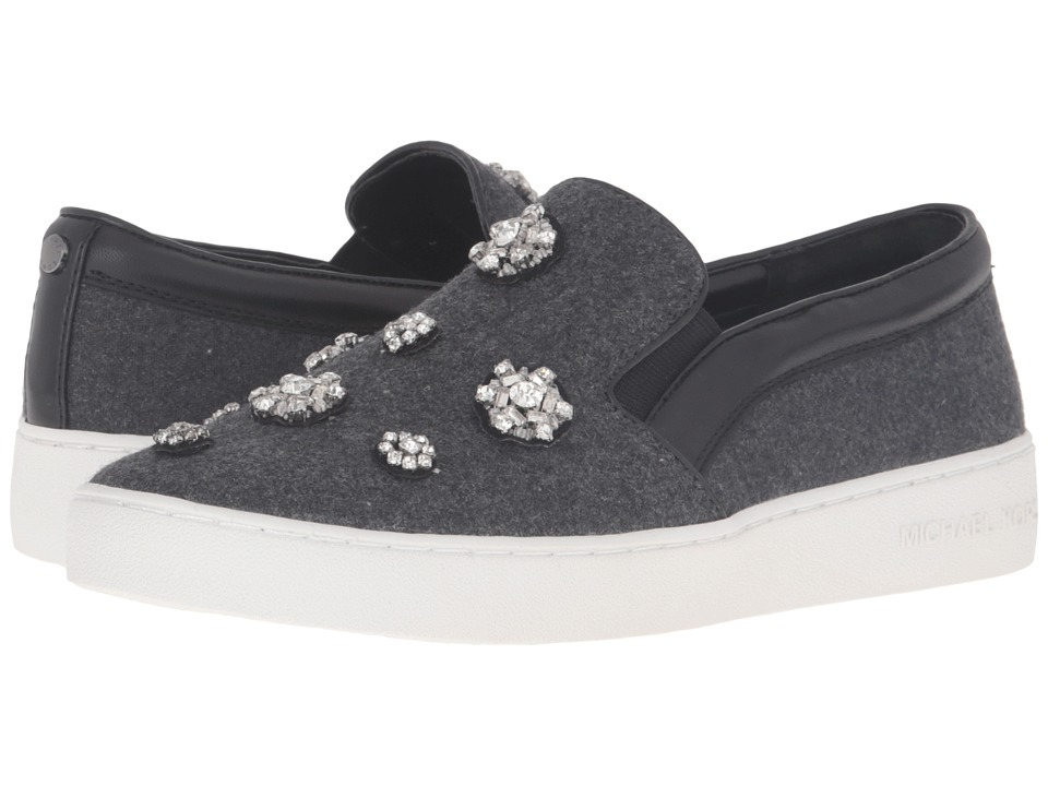 MICHAEL Michael Kors Keaton Slip-On Charcoal Flannel-Nappa-Brooches Womens Slip on  Shoes