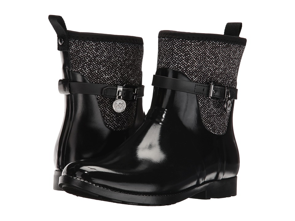 MICHAEL Michael Kors Charm Stretch Short Rainboot Black-White Rubber-Tweed Printed Scuba-Vachetta Womens Rain Boots