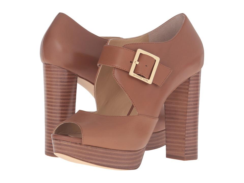 MICHAEL Michael Kors Eleni Platform (Luggage Smooth Calf) High Heels