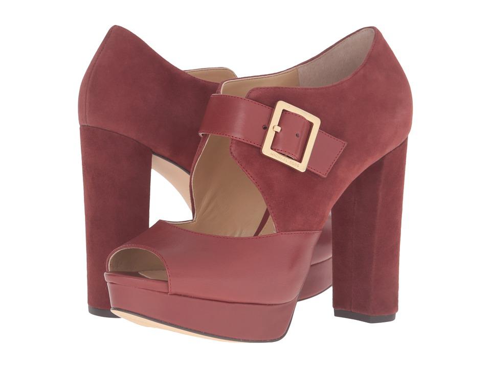 MICHAEL Michael Kors Eleni Platform (Brick Smooth Calf/Kid Suede) High Heels