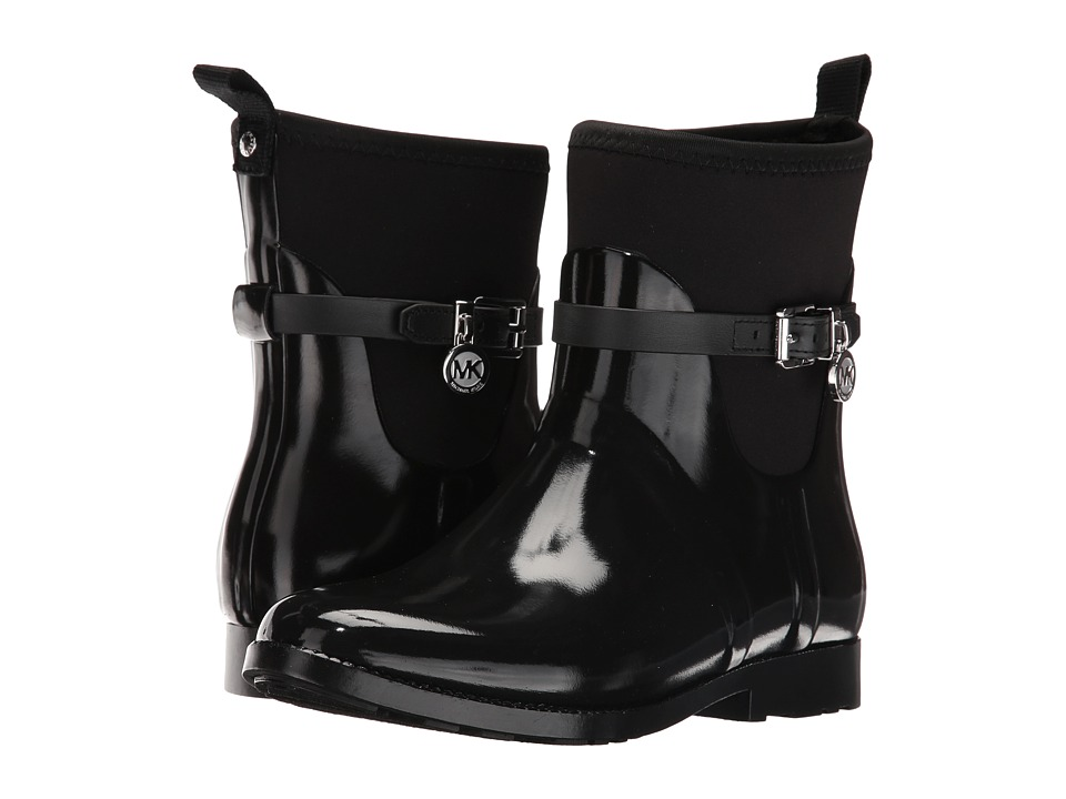 MICHAEL Michael Kors - Charm Stretch Short Rainboot (Black Rubber/Neoprene/Vachetta) Women's Rain Boots