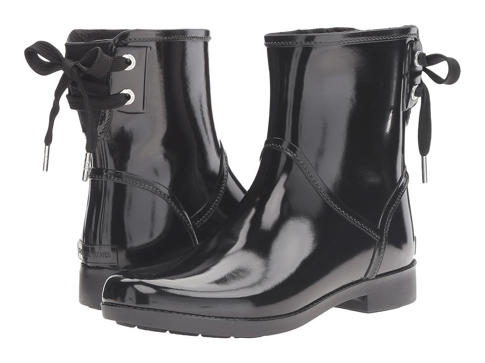 MICHAEL Michael Kors - Larson Rain Bootie (Black Rubber) Women's Rain Boots