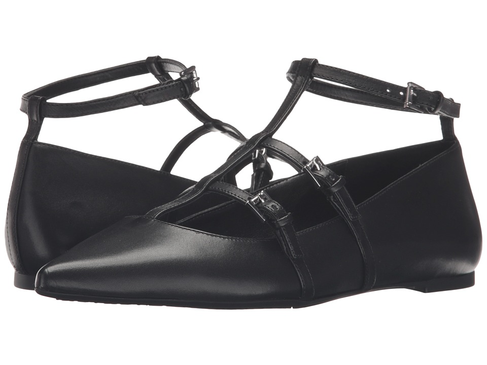 MICHAEL Michael Kors Marta Flat (Black Smooth Calf) Women
