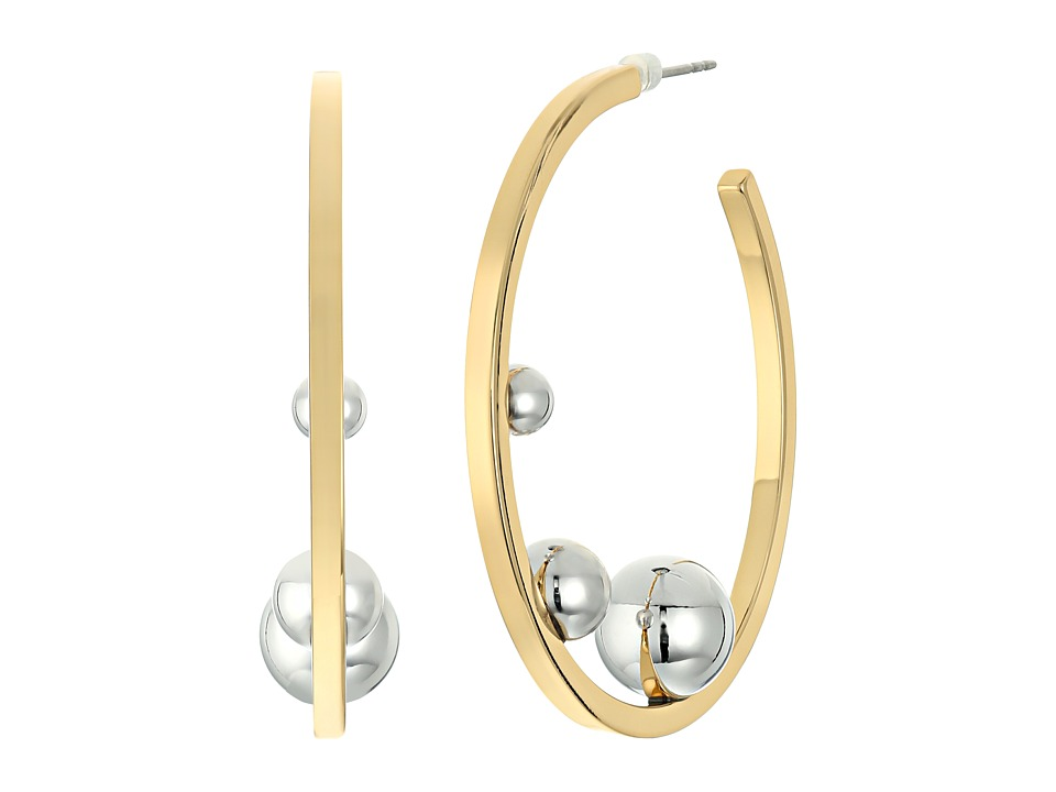 Rebecca Minkoff - Three Pearl Hoop Earrings (Gold/Rhodium) Earring