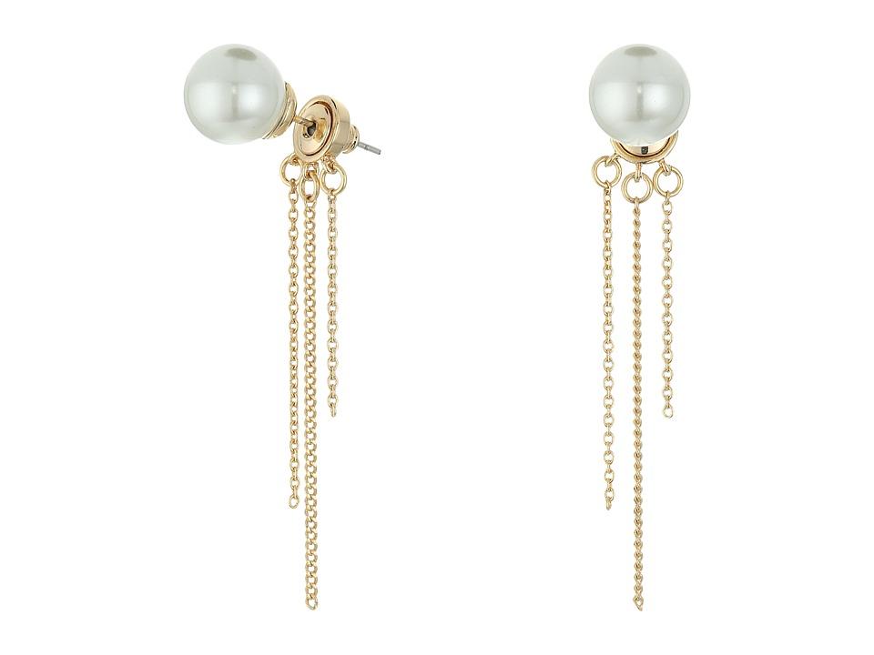 Rebecca Minkoff - Pearl Fringe Back Earrings (Gold/Pearl) Earring