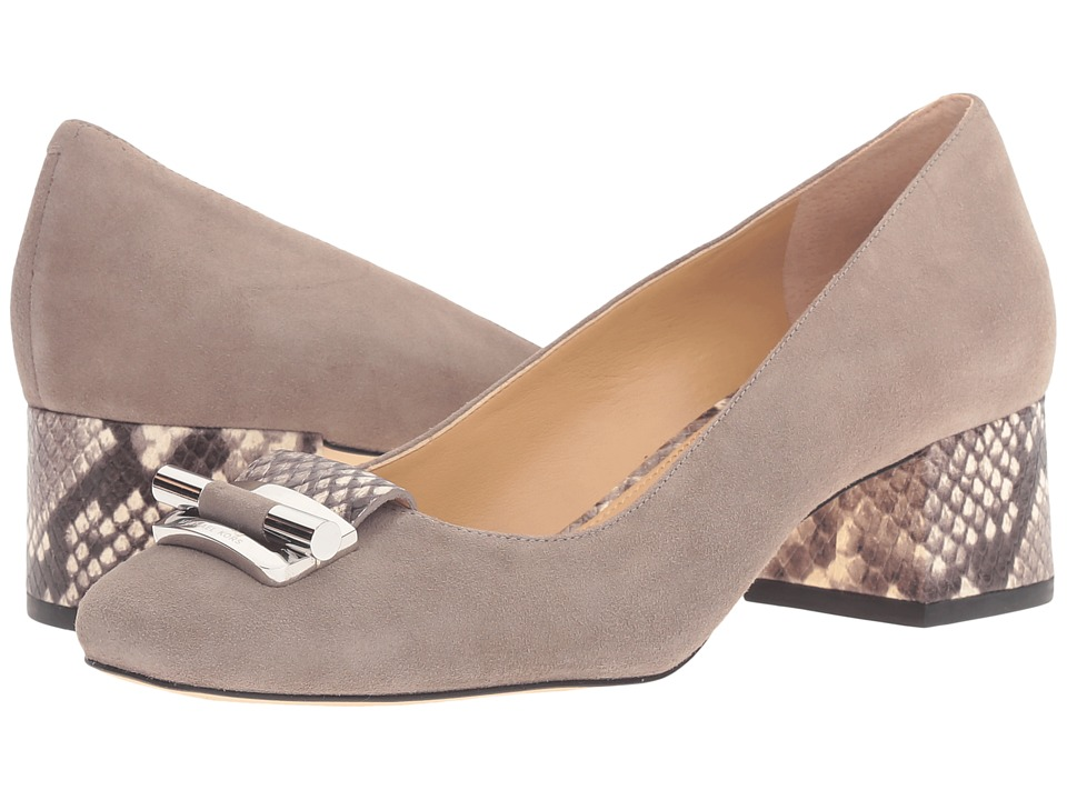 MICHAEL Michael Kors - Gloria Mid Pump (Pearl Grey Kid Suede/Embossed Printed Snake) Women's Shoes