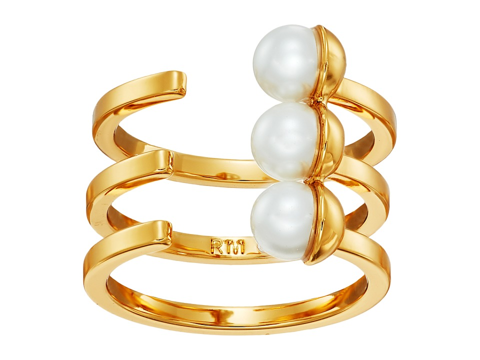 Rebecca Minkoff - Two-Tone Bead Wrap Ring (Gold/Pearl) Ring
