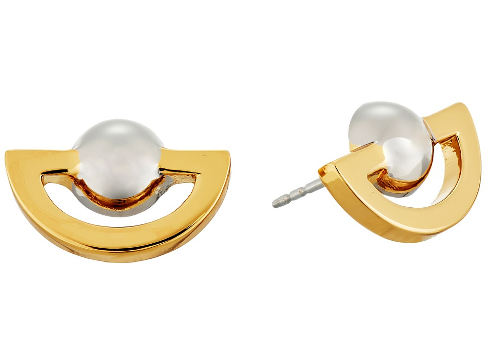 Rebecca Minkoff - Two-Tone Half Circle Earrings (Gold/Rhodium) Earring
