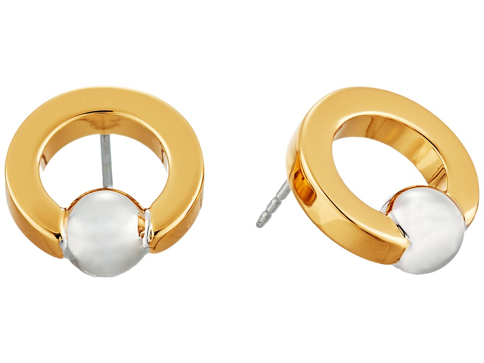 Rebecca Minkoff - Two-Tone Circle Bead Earrings (Gold/Rhodium) Earring