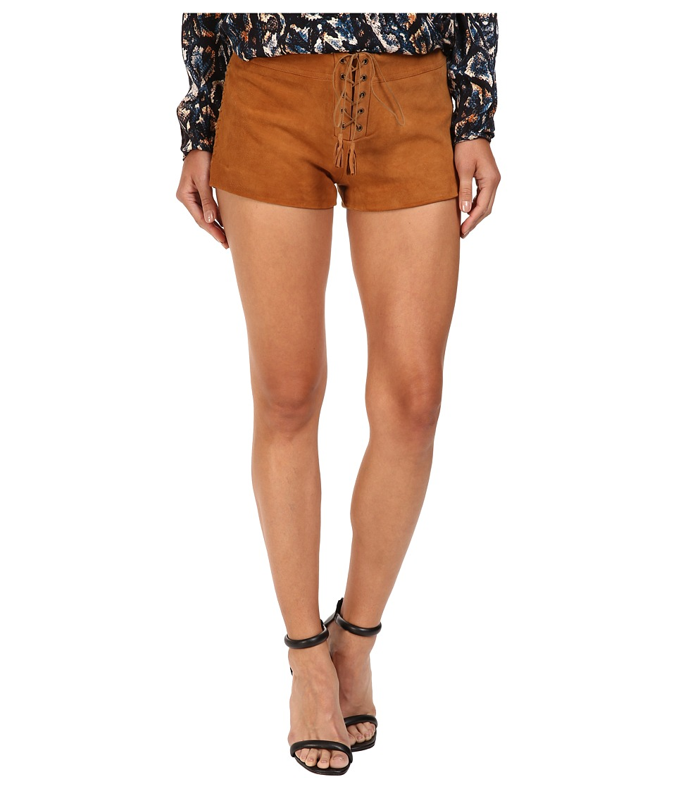 The Jetset Diaries - Hazan Suede Shorts (Camel) Women's Shorts