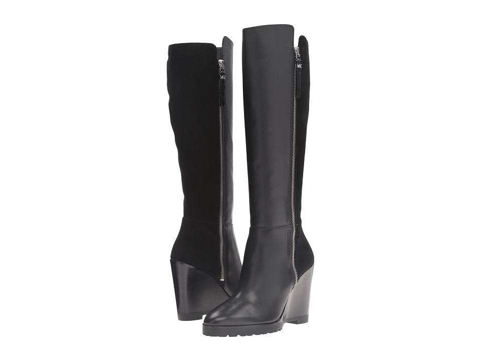 MICHAEL Michael Kors - Clara Wedge Boot (Black Smooth Calf/Kid Suede) Women's Boots