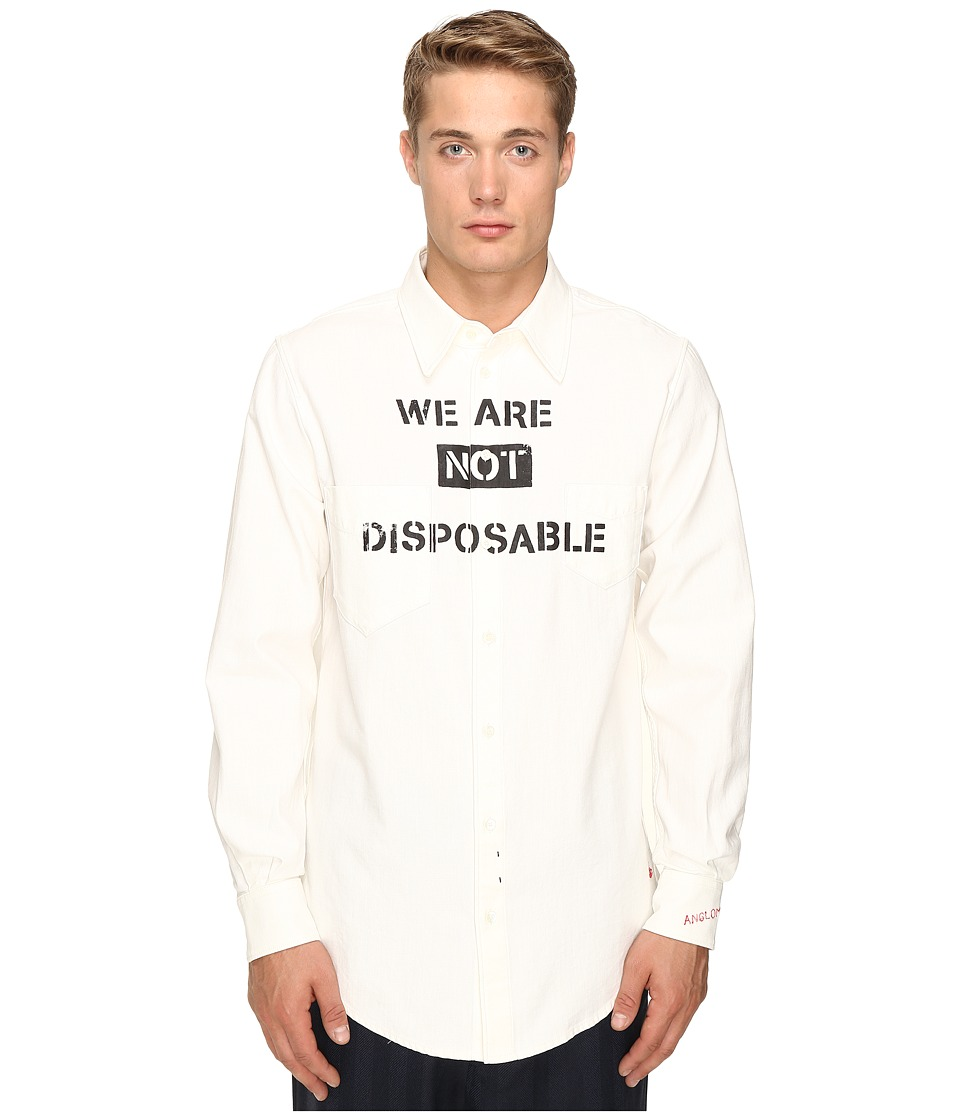 Vivienne Westwood - Anglomania New Long Tail Shirt (Bright White) Men's Long Sleeve Button Up