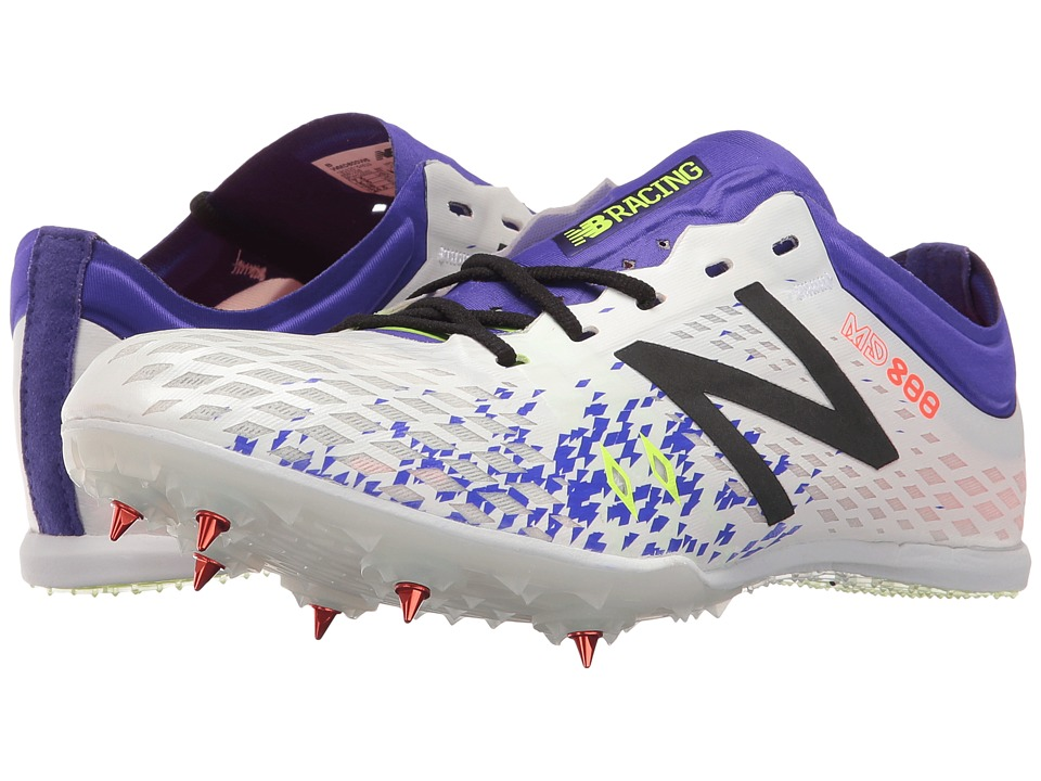 New Balance - MD800v5 Middle Distance Spike (White/Purple) Women's Shoes