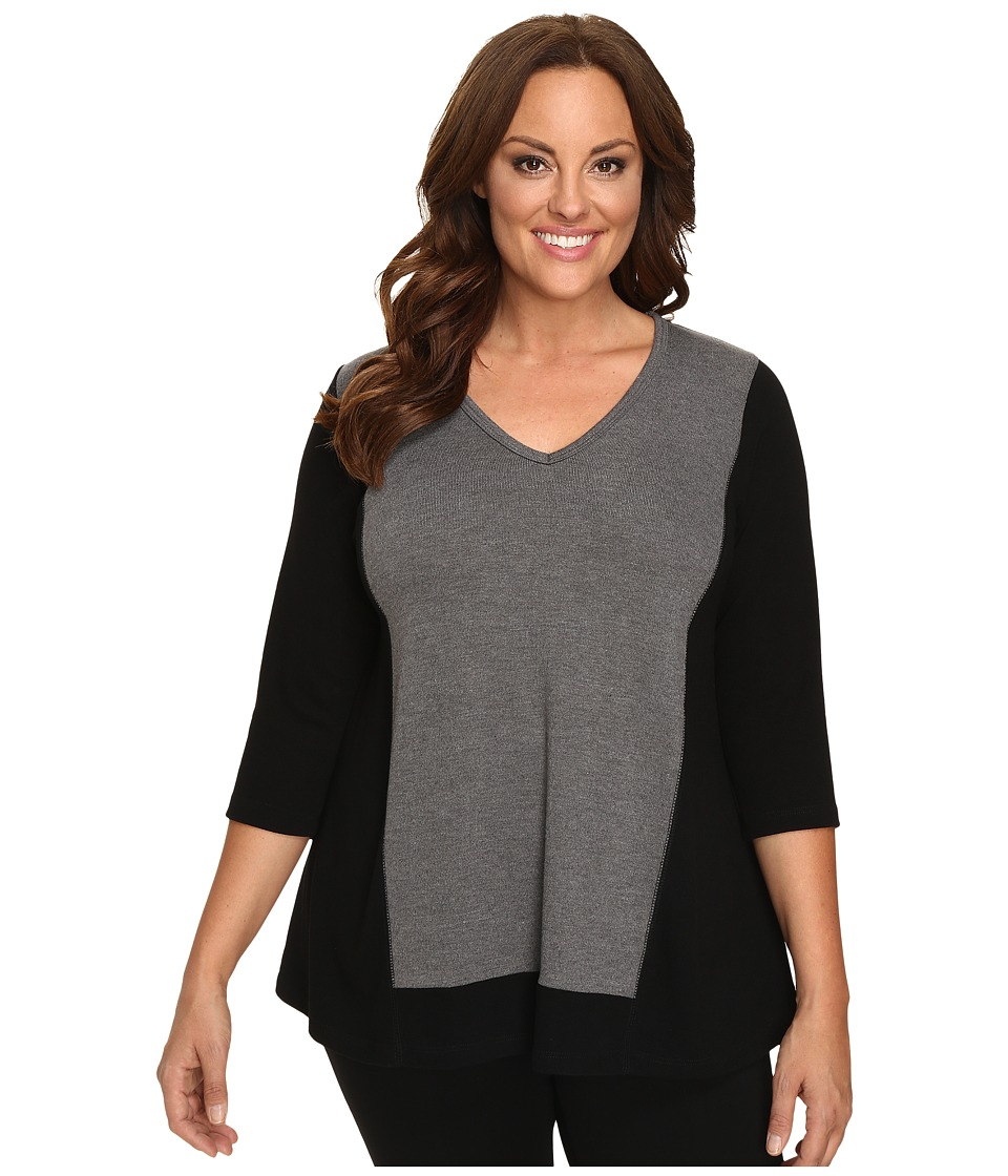 Karen Kane Plus - Plus Size Color Block Sweater Knit Top (Black/Heather Grey) Women's Sweater