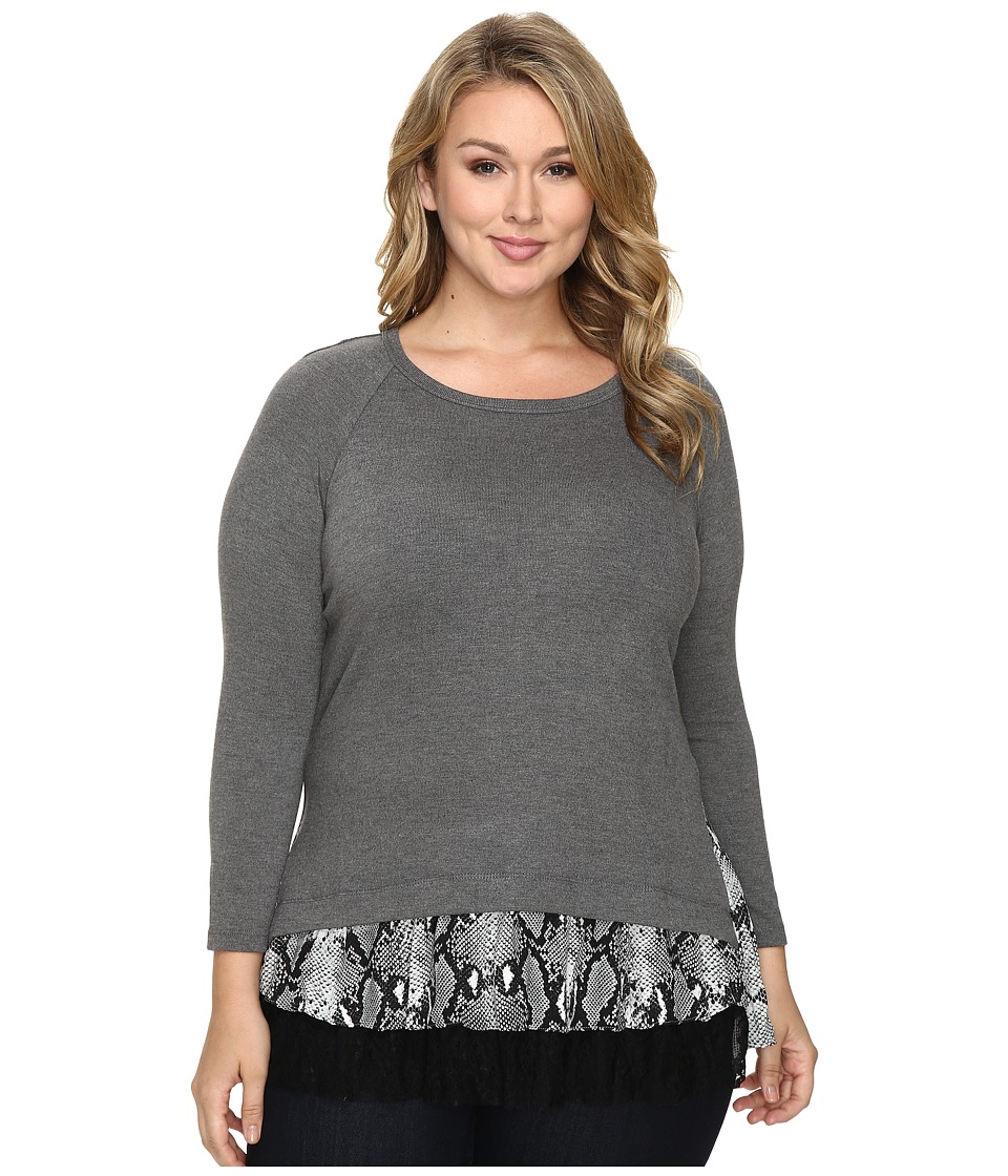 Karen Kane Plus - Plus Size Snake Print Inset Sweater Top (Dark Heather Grey/Black) Women's Sweater