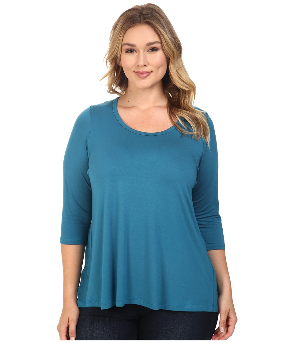 Karen Kane Plus - Plus Size Shirred Contrast Back Top (Baltic Blue) Women's Clothing