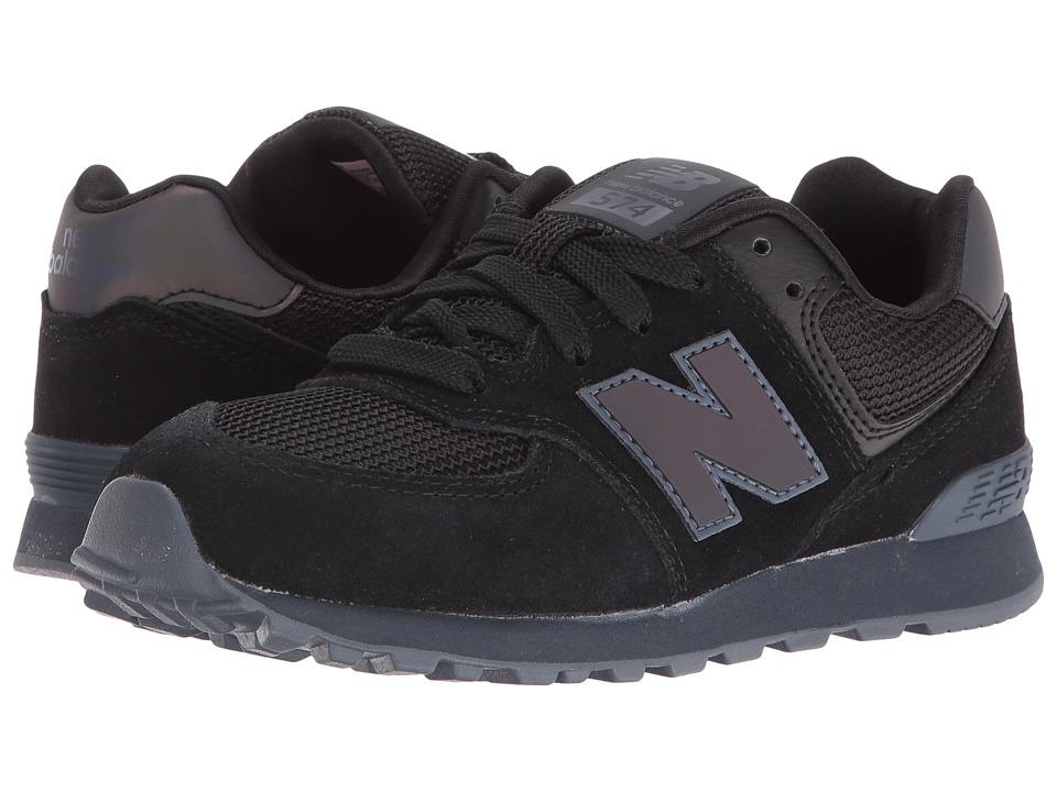 New Balance Kids - KL574v1 (Little Kid) (Black/Black Urban Twilight) Kids Shoes