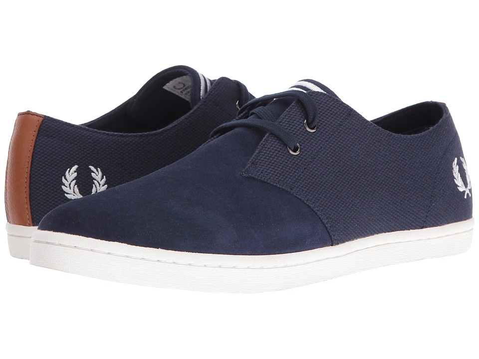 Fred Perry - Byron Low Twill Woven Canvas (Carbon Blue/Snow White) Men's Shoes