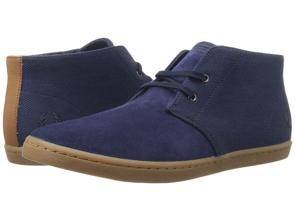 Fred Perry - Byron Mid Suede Woven Canvas (Carbon Blue/Navy) Men's Shoes