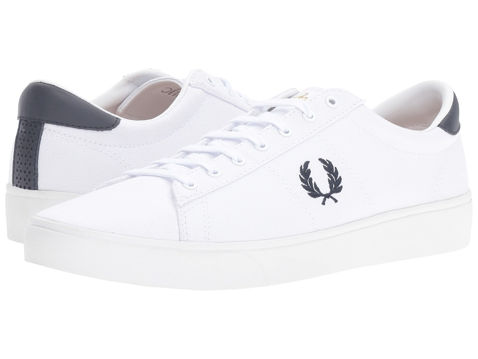 Fred Perry - Spencer Canvas (White/Navy) Men's Lace up casual Shoes
