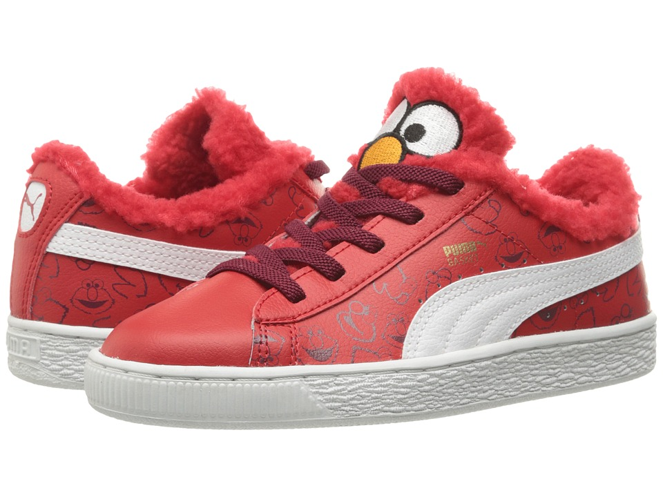 Puma Kids Basket Sesame Elmo AC (Little Kid/Big Kid) (High Risk Red/Puma White) Kids Shoes