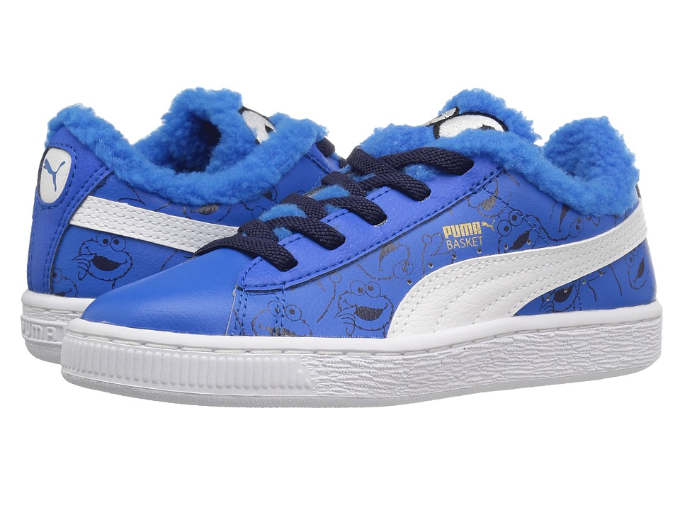 Puma Kids Basket Sesame Cookie Monster AC (Little Kid) (Electric Blue Lemonade/Puma Black) Kids Shoes
