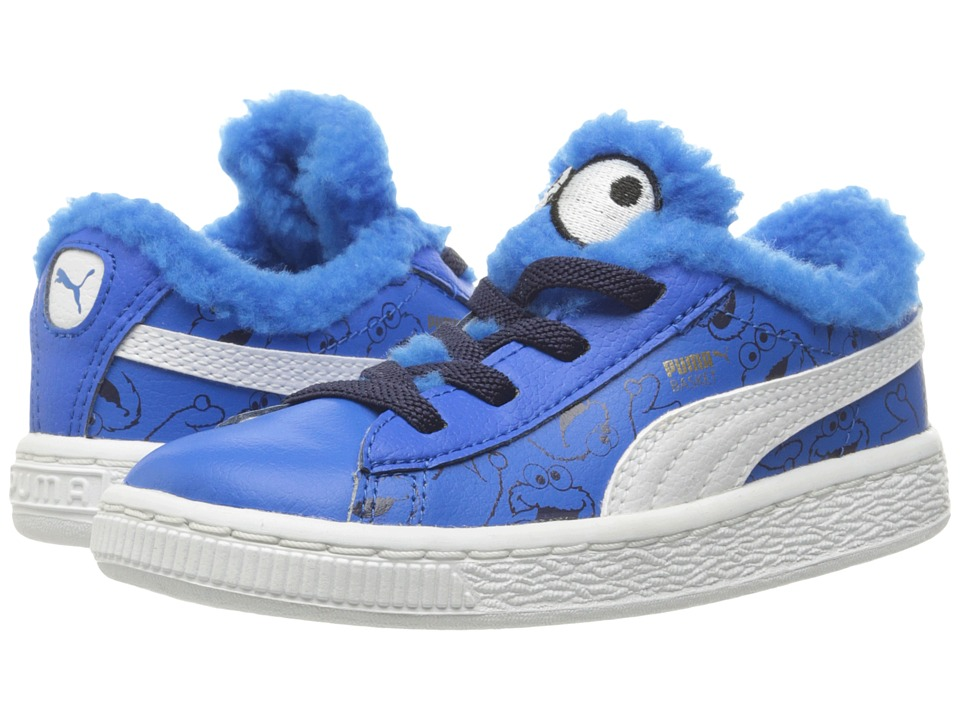 Puma Kids Basket Sesame Cookie Monster (Toddler) (Electric Blue Lemonade/Puma Black) Kids Shoes