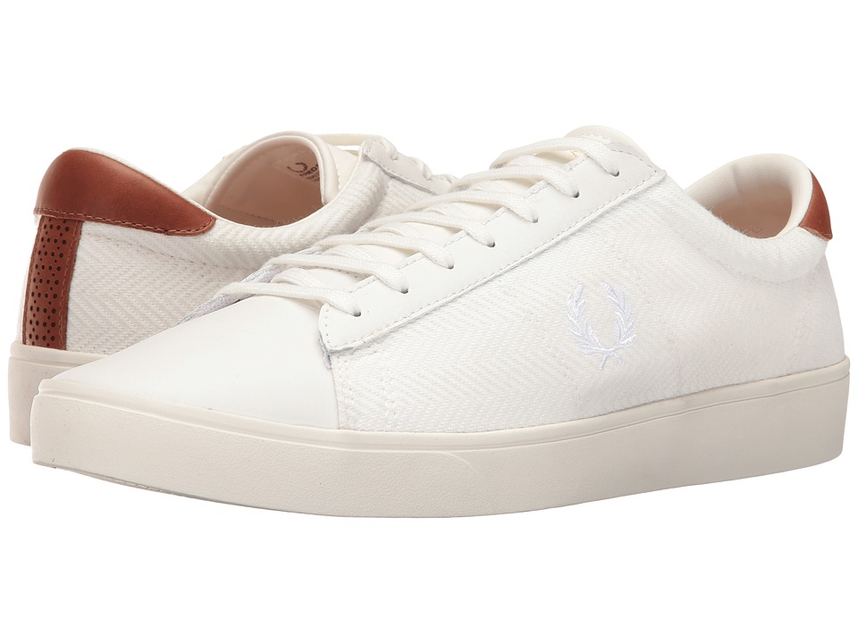 Fred Perry - Spencer Herringbone Knit Leather (Porcelain/White) Men's Shoes