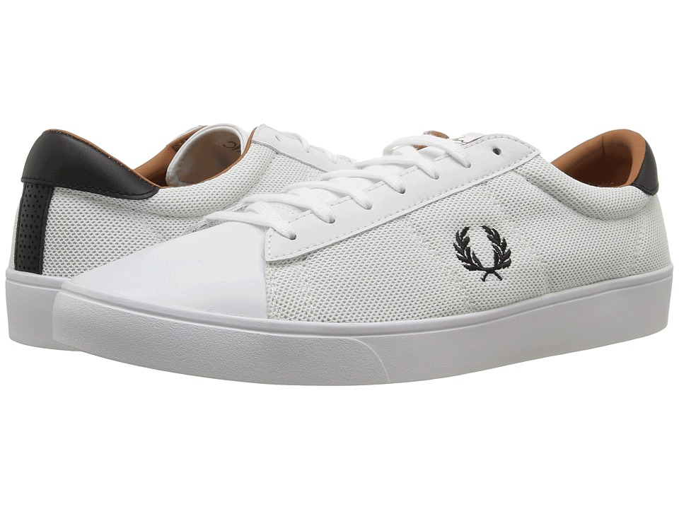 Fred Perry - Spencer Mesh Leather (White/Black) Men's Shoes