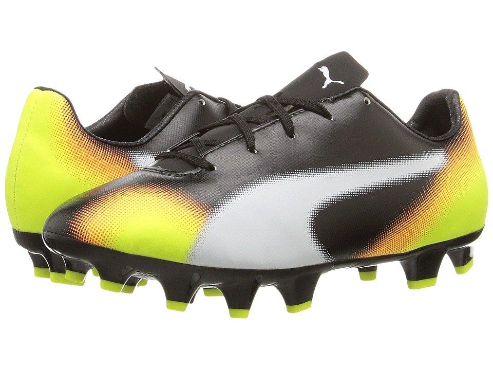 Puma Kids evoSPEED 4.5 Graphic FG (Little Kid/Big Kid) (Black/White/Safety Yellow/Shocking Orange) Kids Shoes
