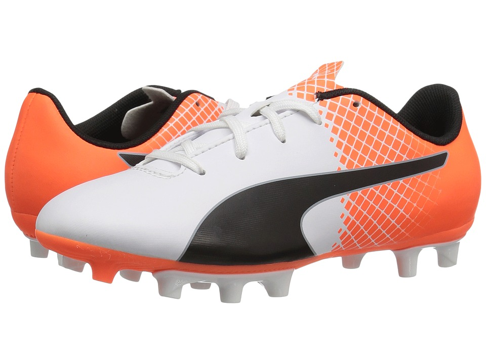 Puma Kids evoSPEED 5.5 Tricks FG (Little Kid/Big Kid) (Puma White/Puma Black/Shocking Orange) Kids Shoes