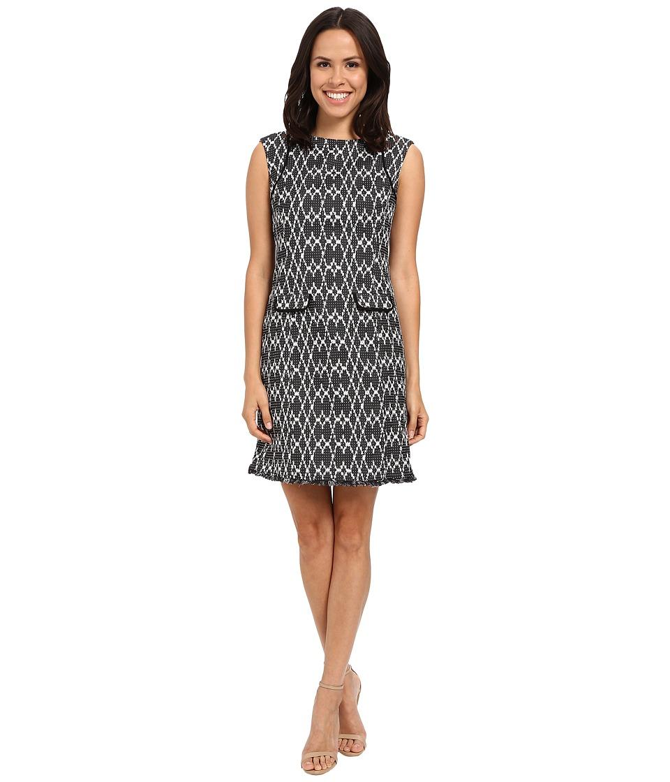 Calvin Klein - Cap Sleeve Shift Dress CD5E1B5H (Black/White) Women's Dress