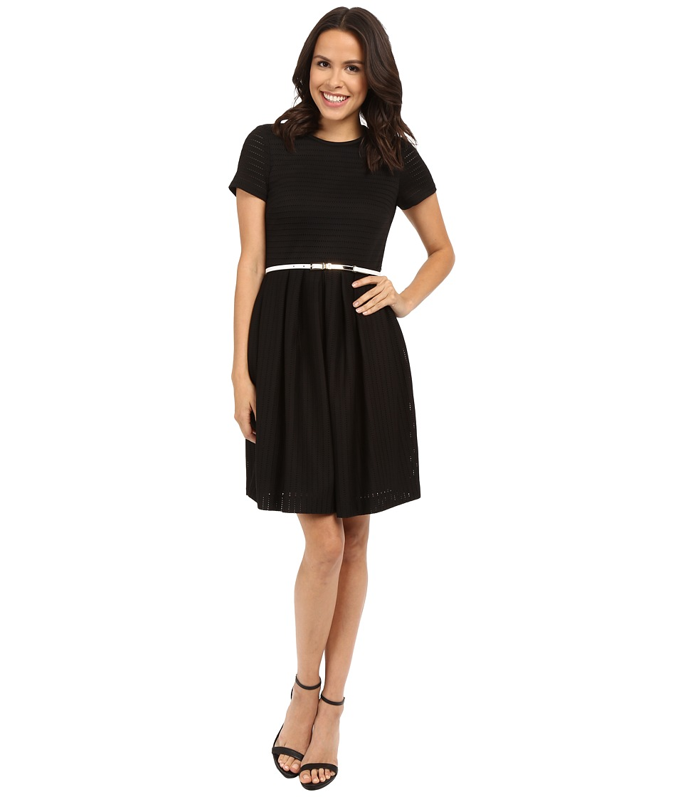 Calvin Klein - Fit and Flair Dress CD5E1768 (Black) Women's Dress