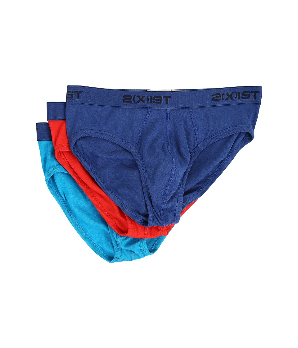 2(X)IST - 3-Pack ESSENTIAL No Show Brief (Monaco Blue/Flame Scarlet/Blue Jewel) Men's Underwear