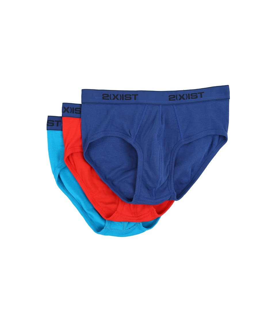 2(X)IST - 3-Pack ESSENTIAL Contour Pouch Brief (Monaco Blue/Flame Scarlet/Blue Jewel) Men's Underwear