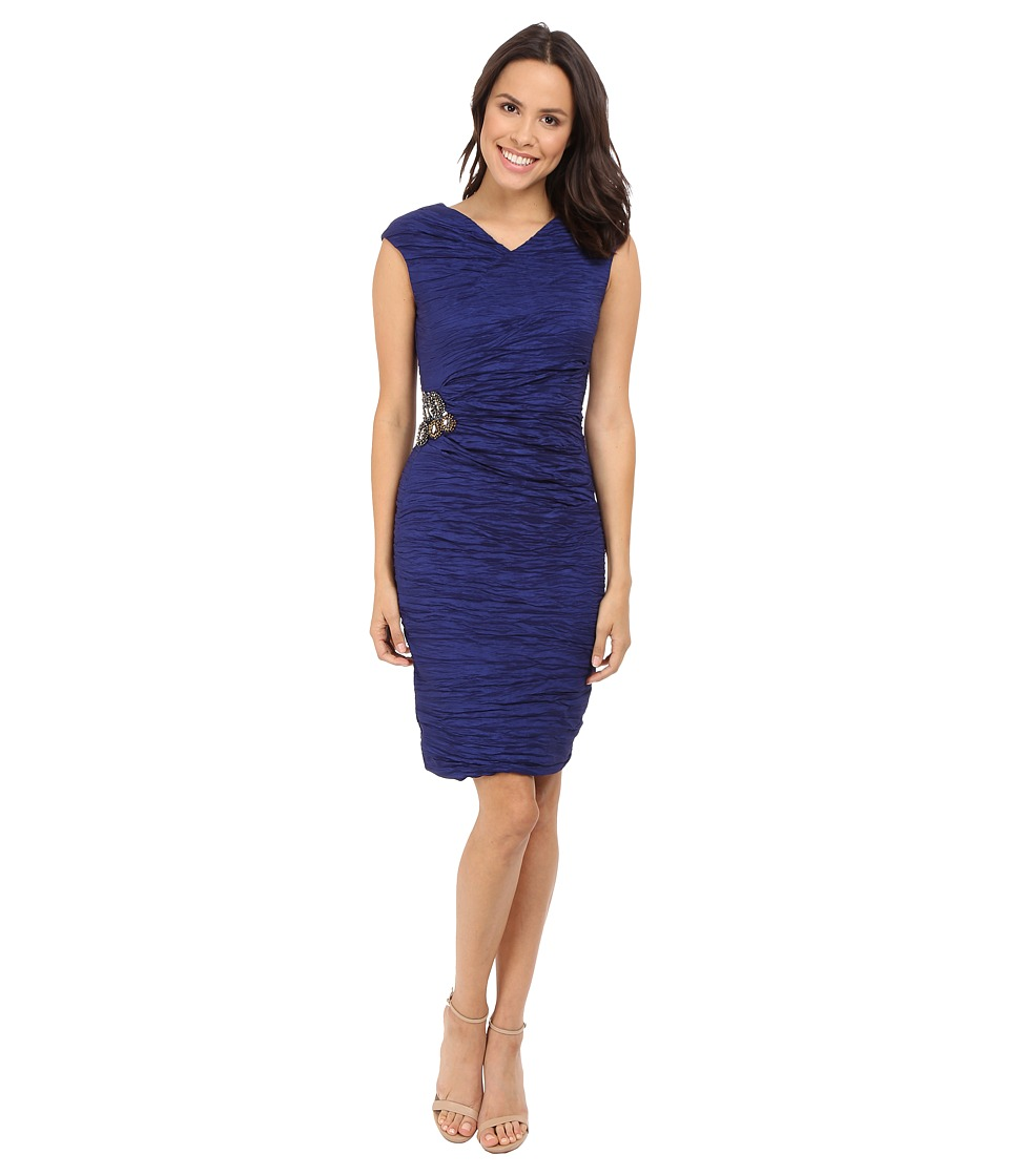 Calvin Klein - Cap Sleeve Dress with Beading on Side CD6B2ZHU (Navy) Women's Dress