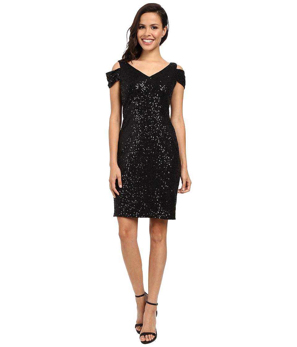 Calvin Klein - Cold Shoulder Sequin Dress CD6B2V4K (Black) Women's Dress