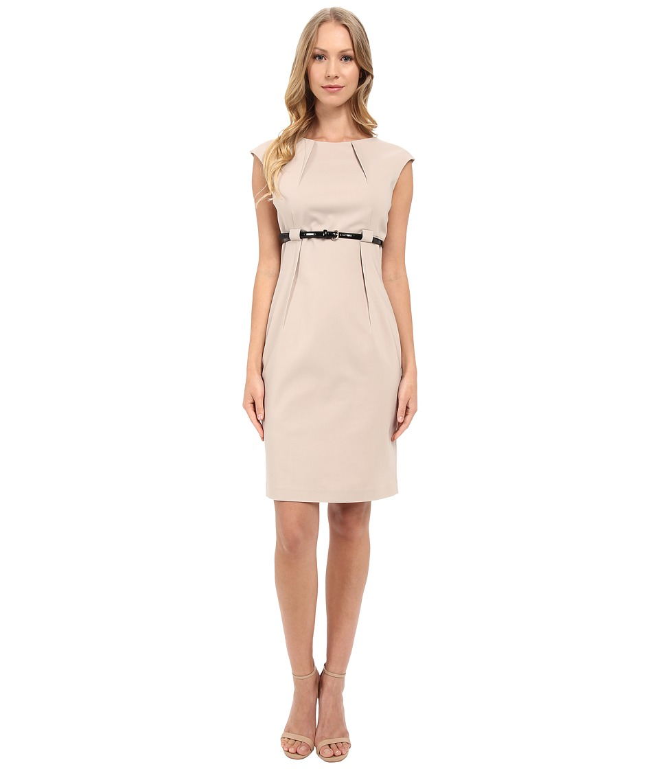 Calvin Klein - Cap Sleeve Empire Waist Sheath Dress CD5G1BD6 (Khaki) Women's Dress