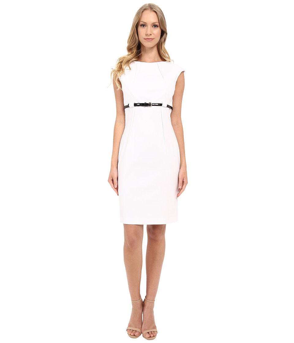 Calvin Klein Cap Sleeve Empire Waist Sheath Dress CD5G1BD6 (White) Women