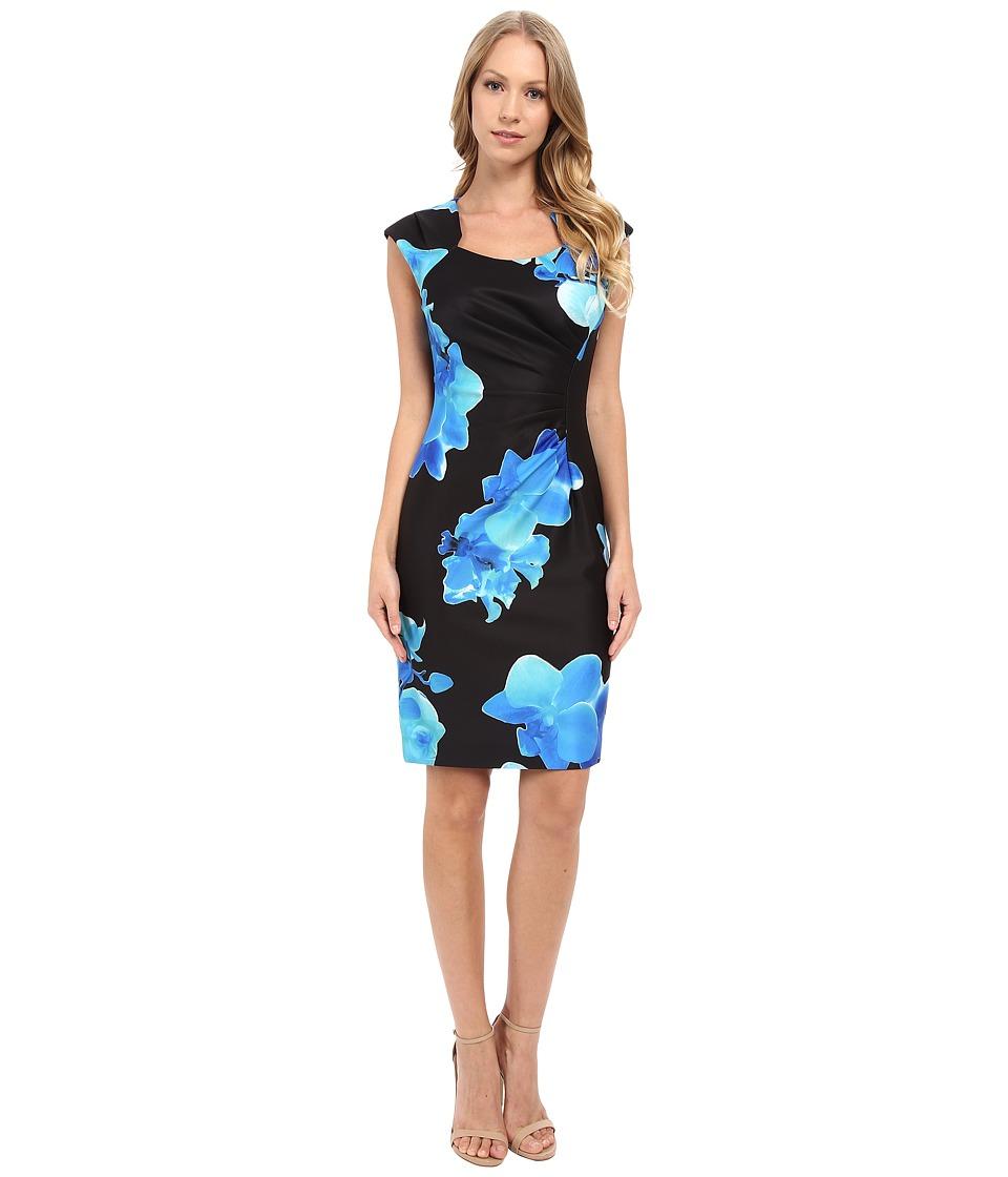 Calvin Klein - Printed Side Ruched Dress CD6M5021 (Black/Manganese) Women's Dress