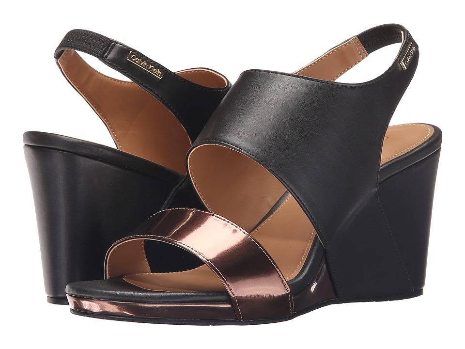 Calvin Klein - Bertha (Espresso Metallic Box/Leather) Women's Shoes