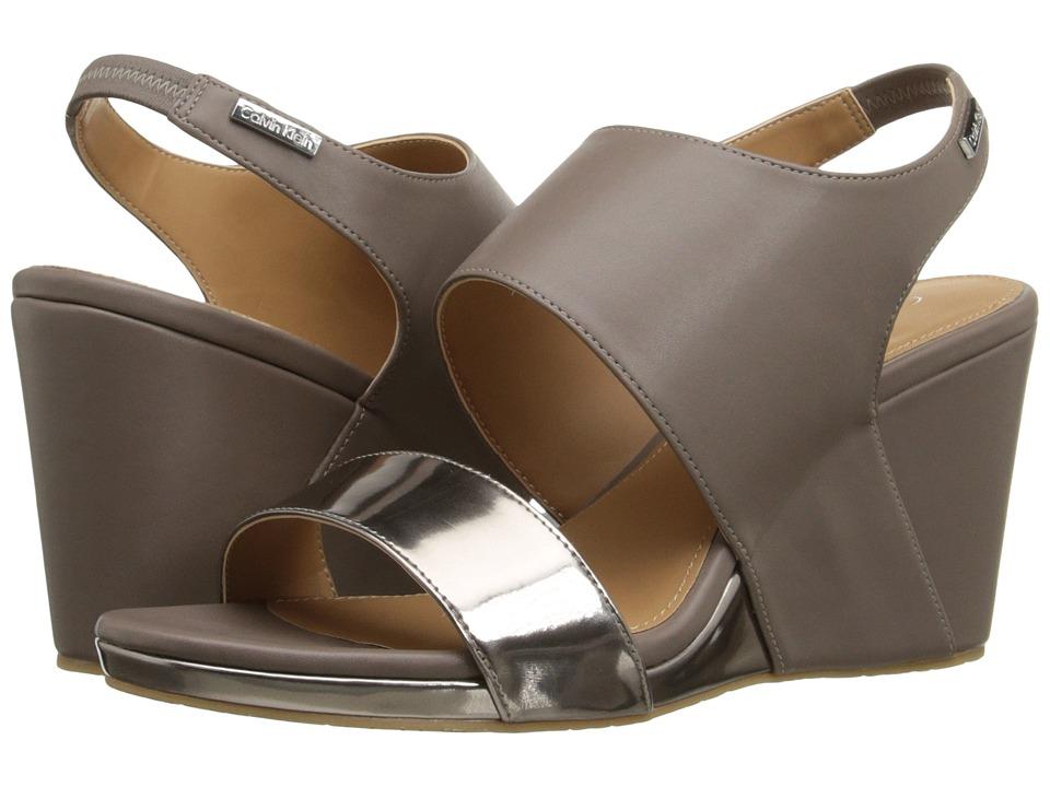 Calvin Klein - Bertha (Ematite/Winter Taupe Metallic Box/Leather) Women