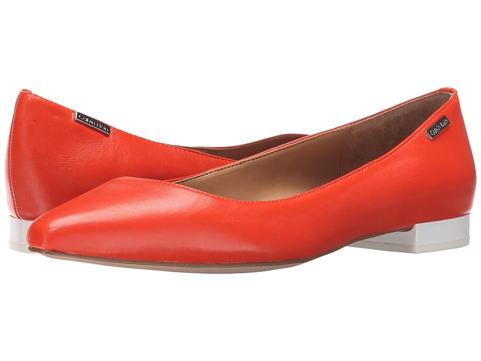 Calvin Klein - Ellasandra (Orange Laquer Leather) Women's Dress Flat Shoes
