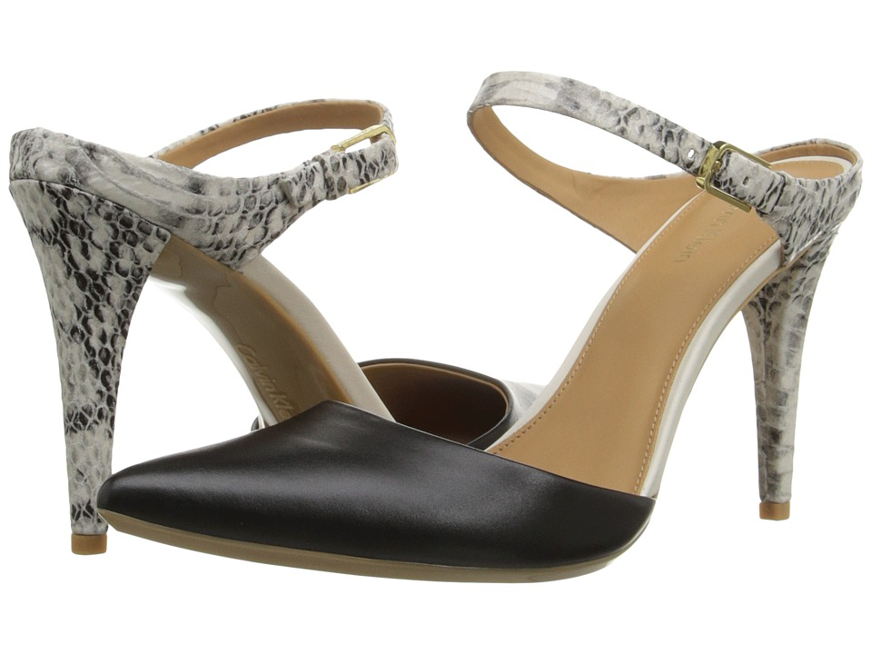 Calvin Klein - Ginnie (Black/Soft White Leather/Muted Snake Print Leather) High Heels