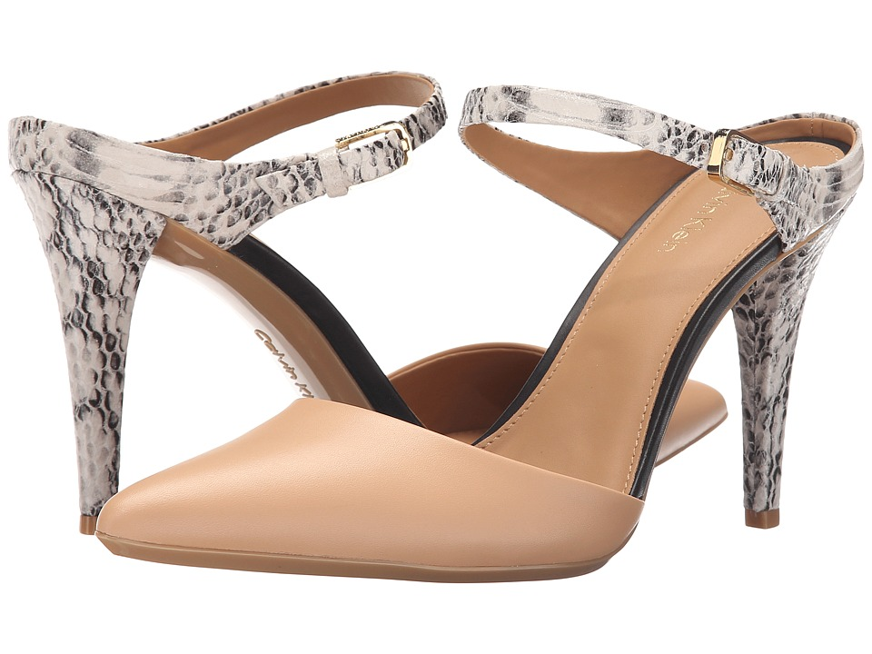 Calvin Klein Ginnie (Blush Nude/Soft White Leather/Muted Snake Print Leather) High Heels