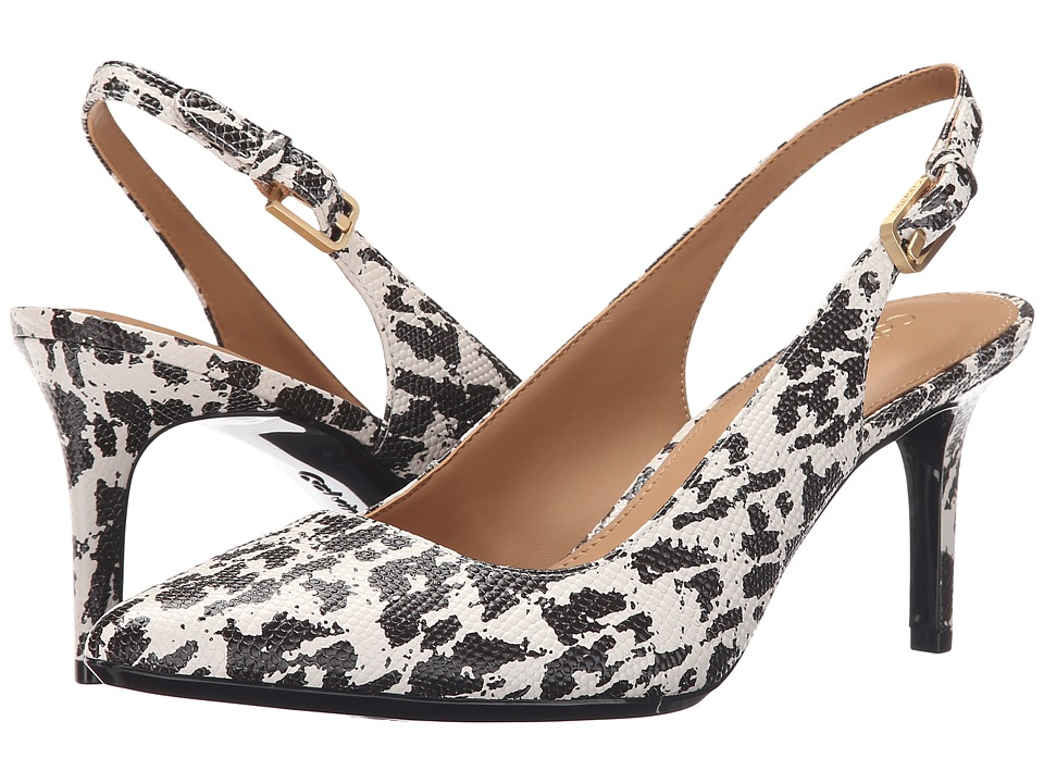Calvin Klein - Giovanna (Soft White/Dark Brown Leopard Lizard Print Leather) Women's Shoes