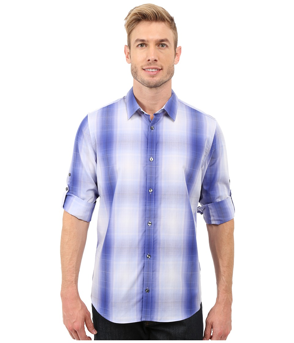 Calvin Klein - Long Sleeve Roll-Up Cotton Tencel Woven Optic Plaid (Violet Storm) Men's Long Sleeve Pullover