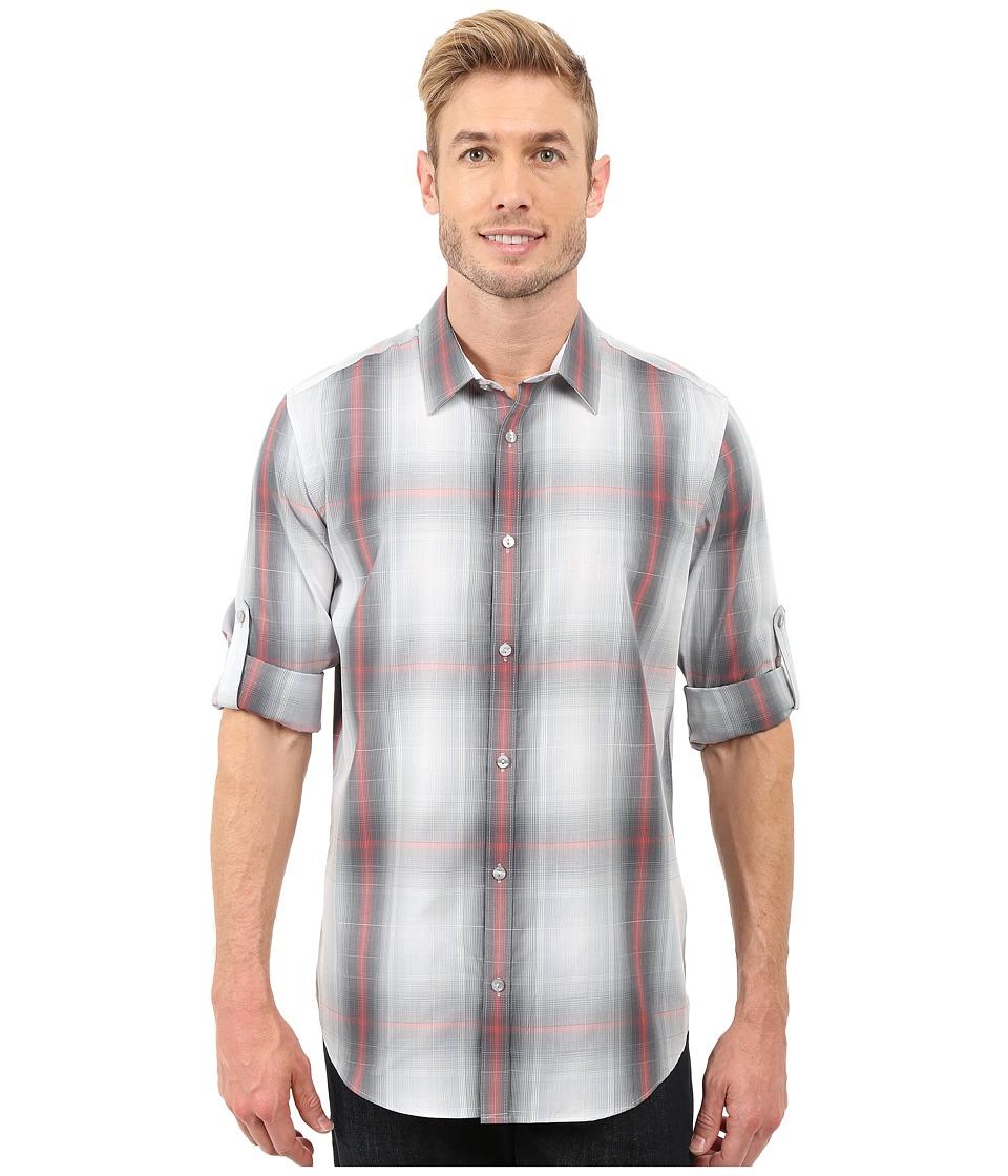 Calvin Klein - Long Sleeve Roll-Up Cotton Tencel Woven Optic Plaid (Tango) Men's Long Sleeve Pullover