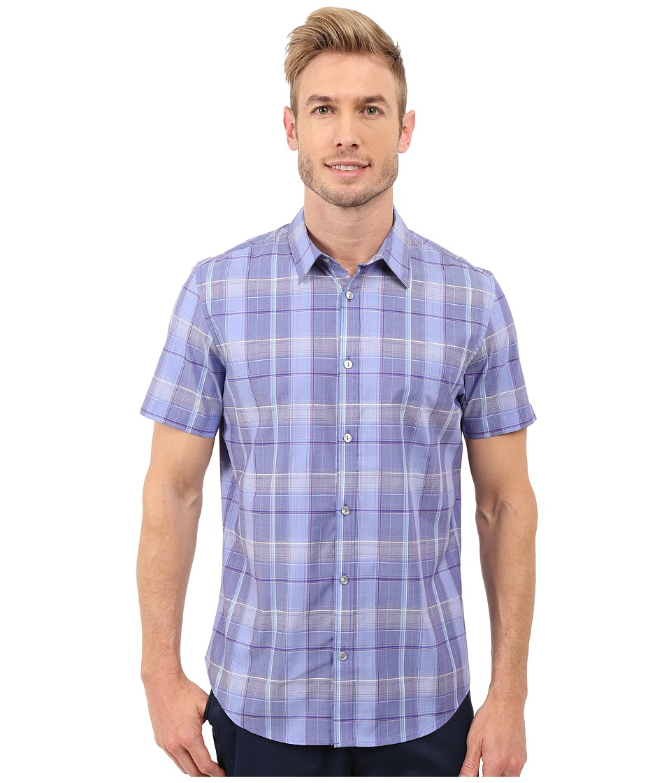 Calvin Klein - Classic Fit Window Plaid Short Sleeve Shirt (Violet Storm) Men's Short Sleeve Button Up