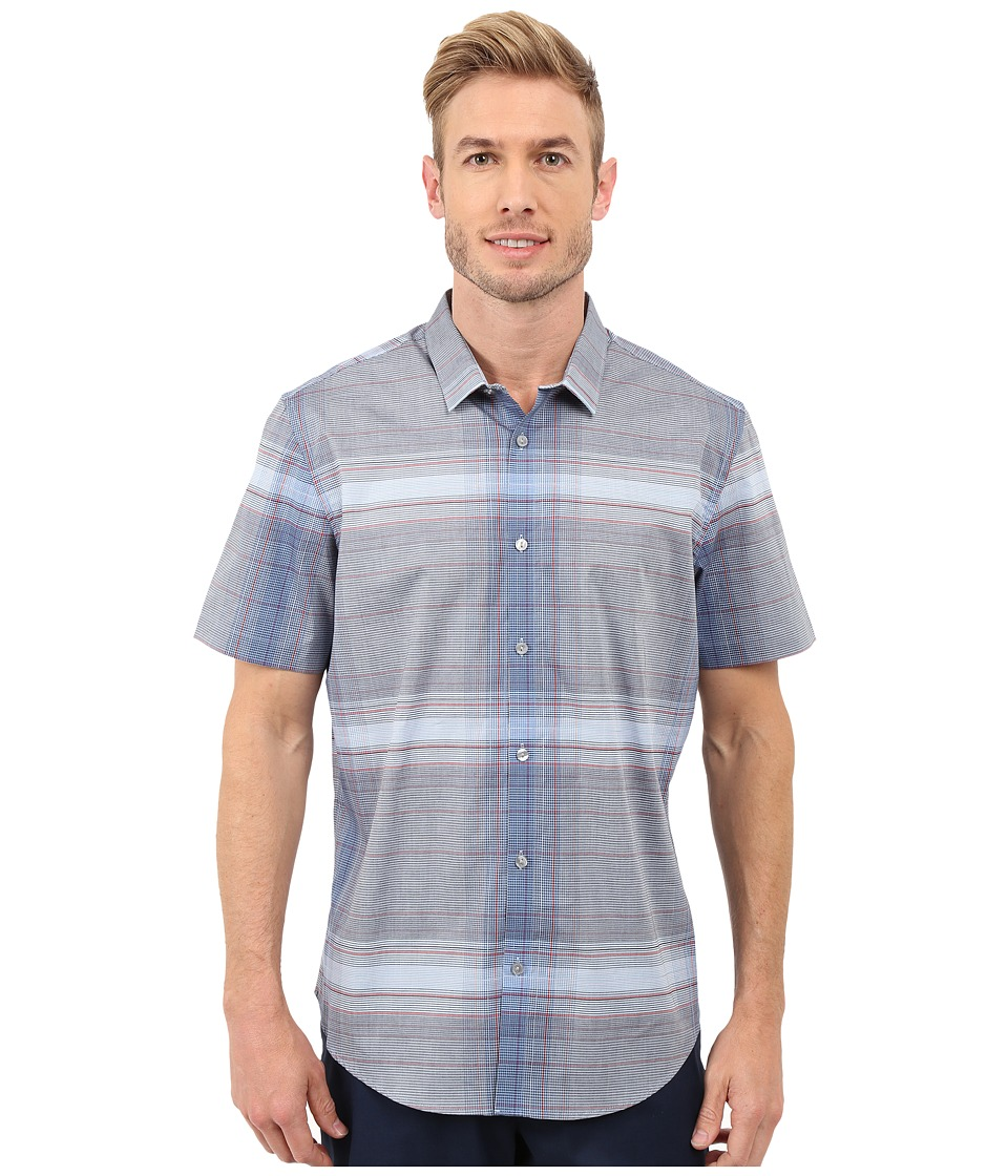 Calvin Klein - Slim Fit Linear Plaid Short Sleeve Shirt (Limoges) Men's Short Sleeve Button Up